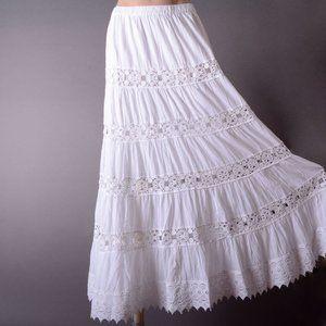 White Eyelet Crochet Beach Summer Long Maxi Skirt